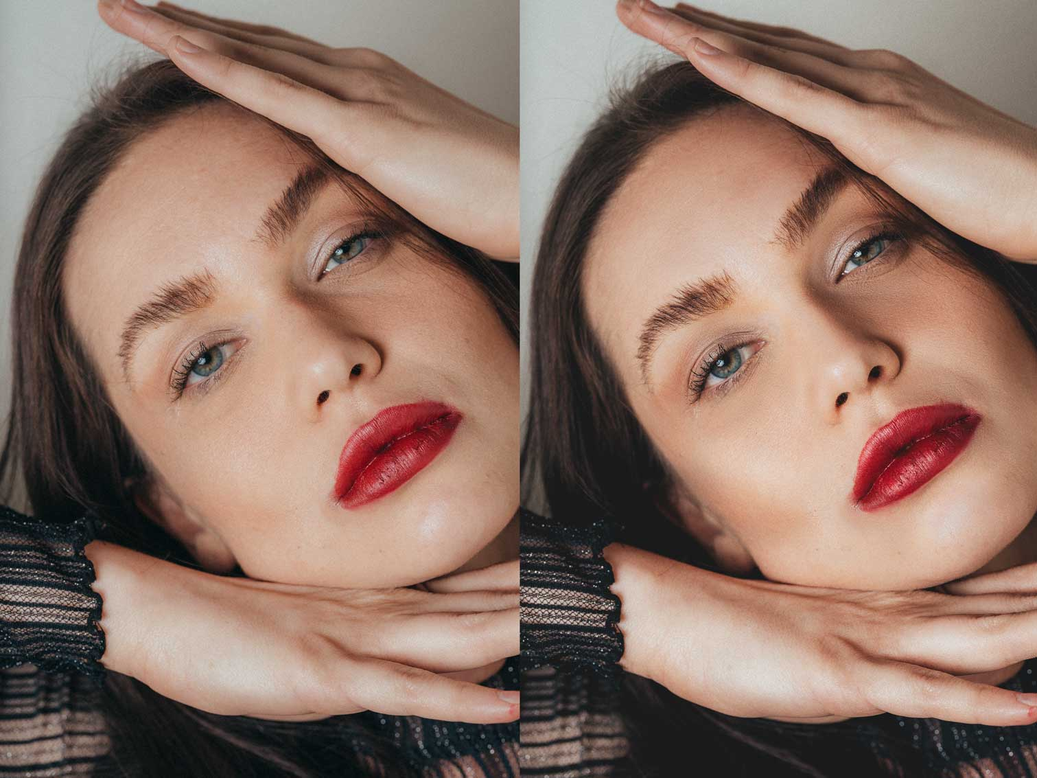 Before and After professional beauty retouching editing examples