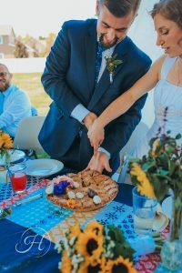 wedding photography Meridian Idaho Valley Shepherd Church wedding pie cutting