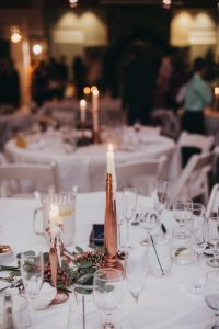 Budget wedding centerpieces | bronze candle centerpieces | budget wedding decor