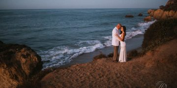 sunrise elopement el matador beach wedding photography